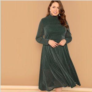Plus-Size Mock-Neck Glitter Dress